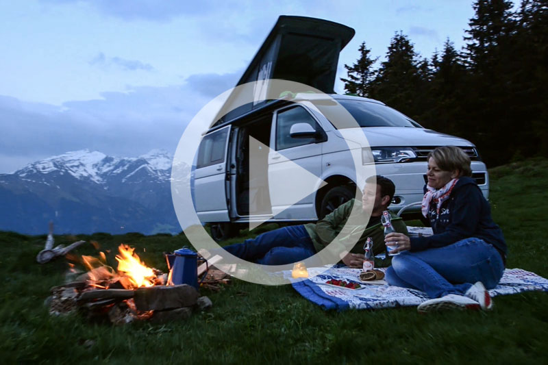 vw campervan rental Switzerland, trailer