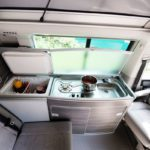 camper hire Switzerland, spacious refrigerator for market-fresh products