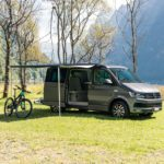 camper van hire Europe, awing provides protection from the sun