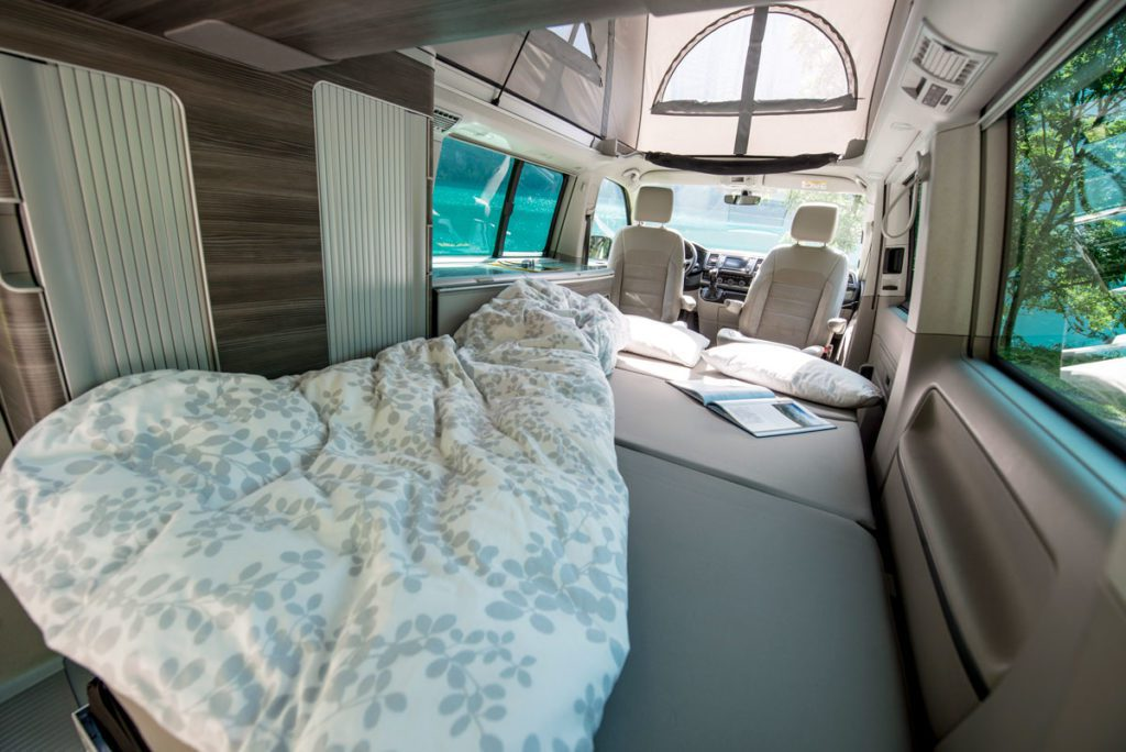 camper rental Switzerland, sleeping comfort for two adults on main deck