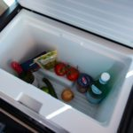 Mercedes Benz Marco Polo refridgerator filled with food and drinks