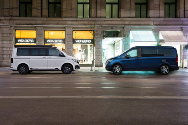 VW camper T6.1 in city center opposite Mercedes Marco Polo Camper